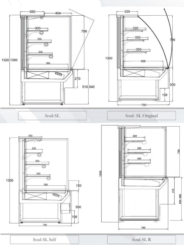 Чертеж холодильной витрины