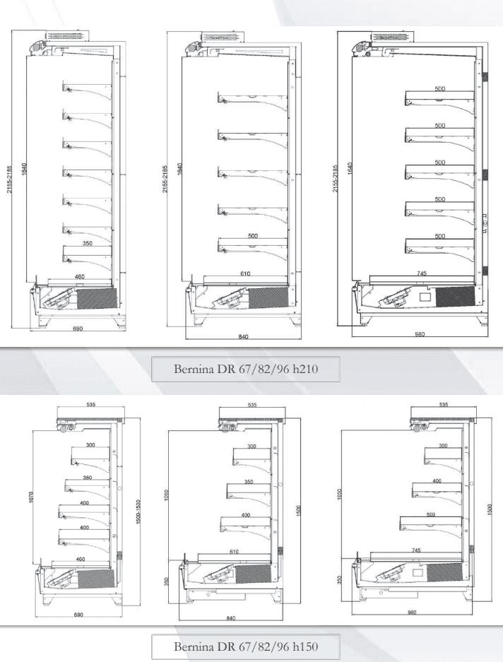 Схематичные чертежи холодильных горок для магазина