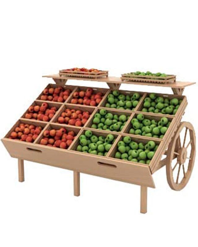 деревянный развал для овощей и фруктов с ящиками в виде телеги арт F006м