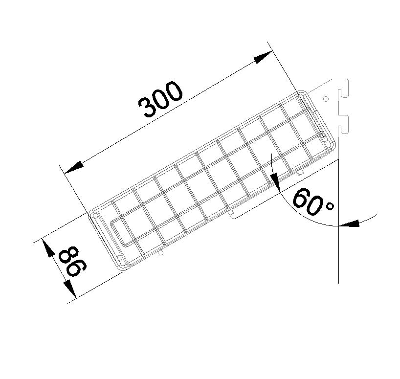 Корзина торцевая наклонная 650*300