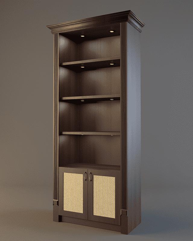 Шкаф для алкоголя с подсветкой полок и фризом V 023
