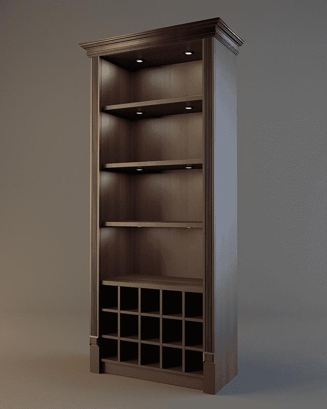 Алкогольный шкаф с фризом и подсветкой V 017
