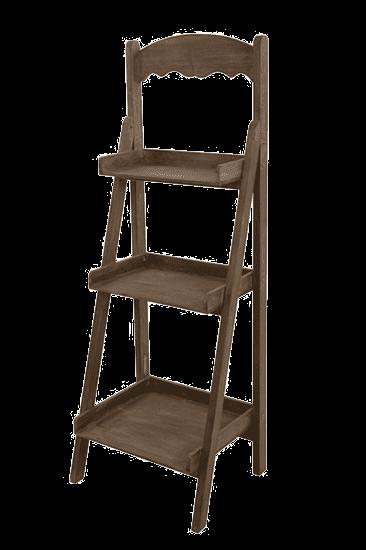 Стойка деревянная трехполочная с резным фризом