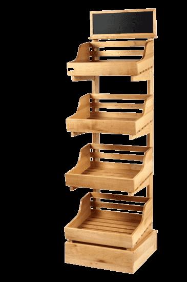 Узкая стойка деревянная с топпером и четырьмя полками