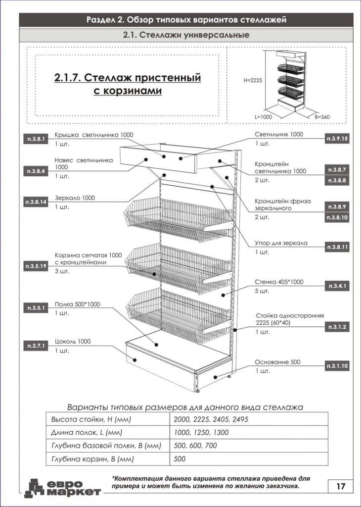 Схема торгового стеллажа
